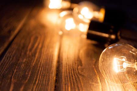 Christmas garland of incandescent lights. Christmas background