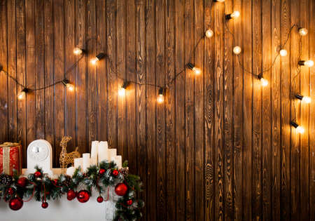 Christmas decoration with lights. Happy new year. Christmas room