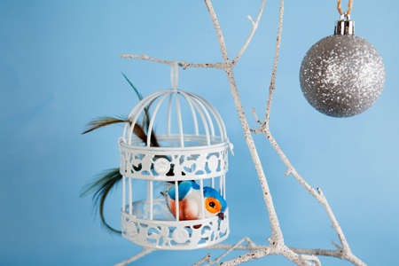White bird cage and bird on blue background