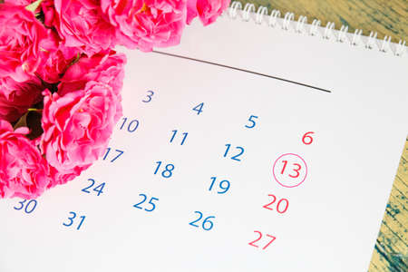 Roses and calendar. 13 may. Happy mothers day. Greeting card