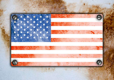 Grunge flag on wall. Abstract retro background 스톡 콘텐츠