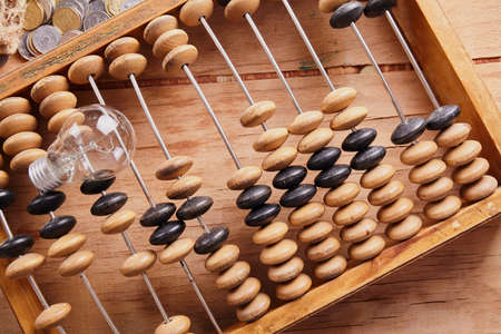 Old retro abacus on background. Business concept