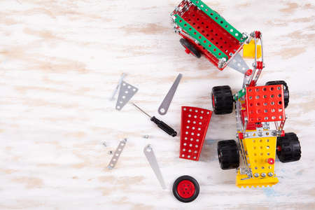 constructor toy metal close up. Flat lay