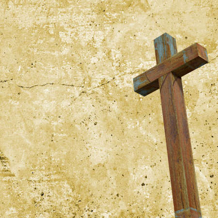 Old wood cross on wall background. Christian concept