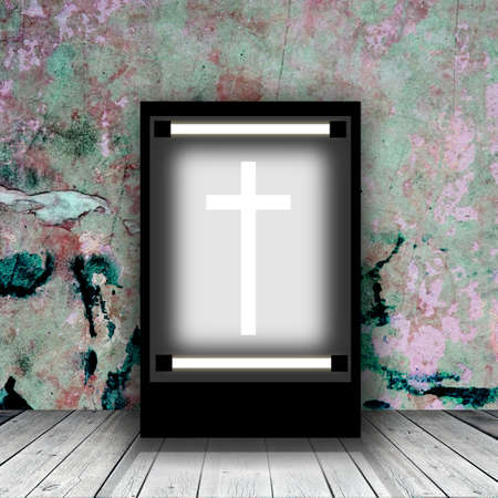 White cross in lightbox in empty room. Illustration 写真素材