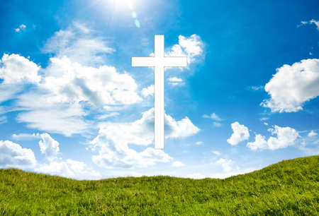 Cross on blue sky outdoor. Nature objects. Religion concept 版權商用圖片