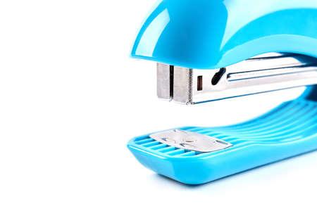 Blue stapler isolated on white background. School stationery Stok Fotoğraf