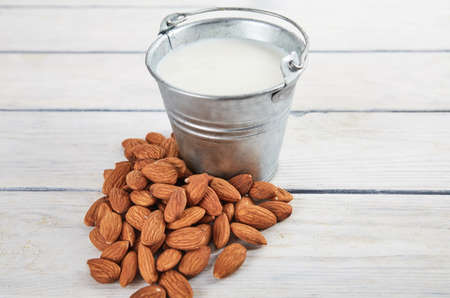 Almond milk close up with space for text. Food background