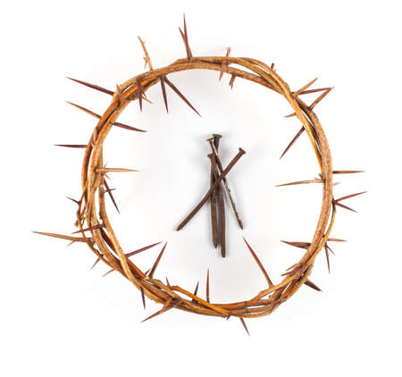 Crown of Thorns with metal spikes on white background.
