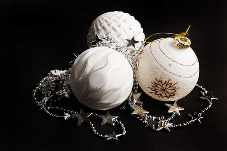 Christmas border of ornaments isolated on a white background. Happy new year