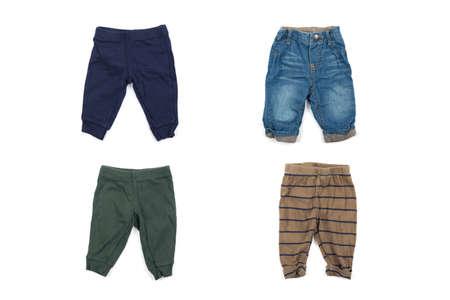Stylish baby pants isolated on white background Stock Photo