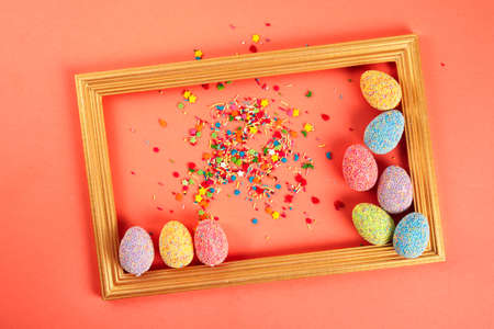 Colorful eggs with frame. Happy easter day. Creative background