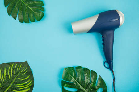 Blue hair dryer on blue creative background. Place for text. Top view Stock fotó