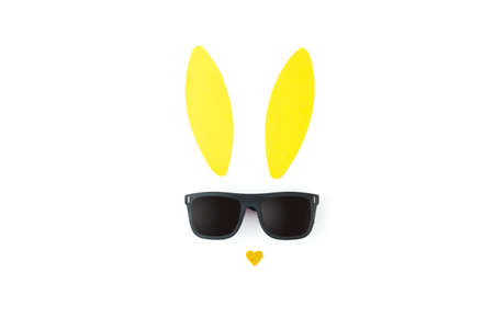 Creative easter background with bunny ears and sunglasses on white background