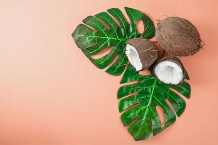 Fresh coconut on coral background. Food ingredients. Health food 版權商用圖片 - 122702530
