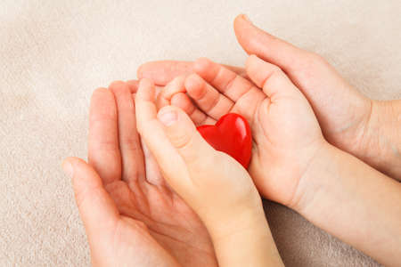 adult and child hands holding red heart, health care, donate and family insurance concept,world heart day, world health day, CSR concept 免版税图像 - 123564449