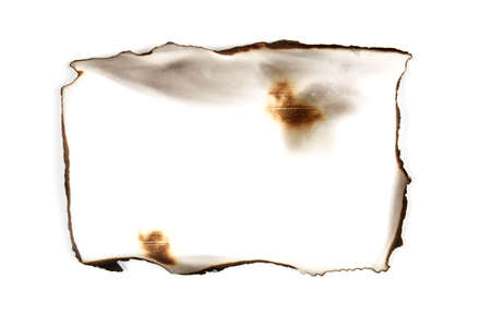old burnt paper on white background. Retro texture