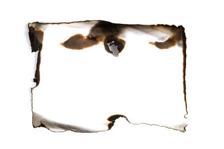 isolated scorched paper on a white background