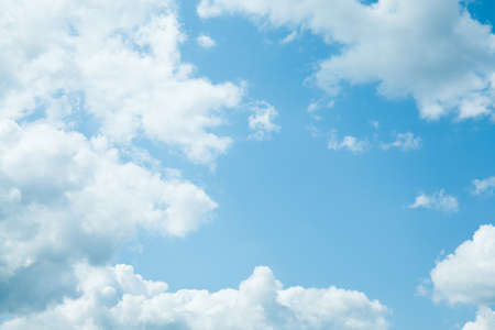 Blue sky background with clouds. Nature background Stock Photo