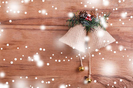 Christmas background with decoration on dark wooden board