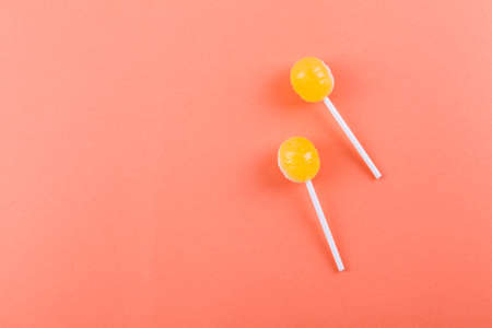 lolipop on mint blue pastel background.sweet candy concept