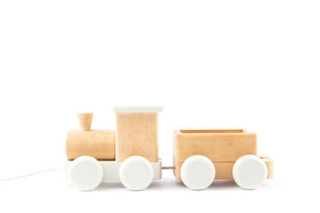 Wooden train on the white background. Toys