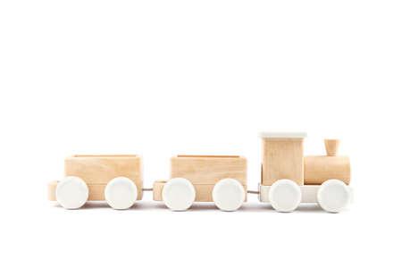 Wooden train on the white background. Toys Stock fotó - 130135659