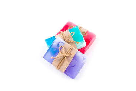 Hand made soap bars on white background, top view. Mockup for design