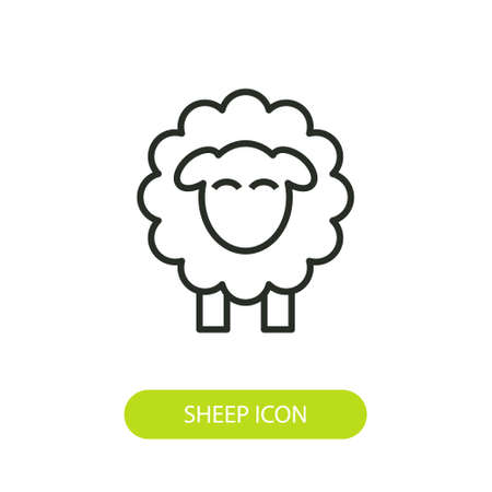 Line icon sheep side on white background 일러스트