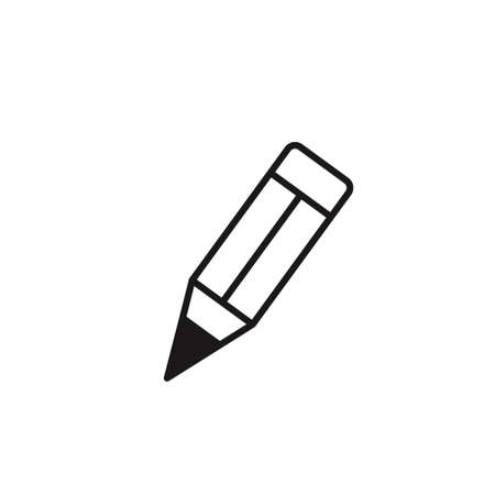 Pencil flat icon. Single high quality outline symbol of graduation for web design or mobile app.