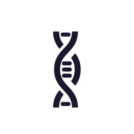 Modern black icon on white backdrop. Science biology dna technology background