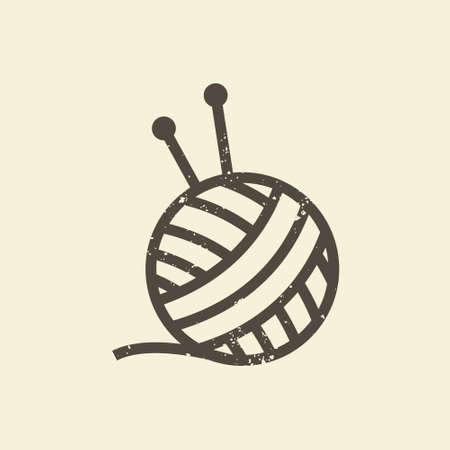 The symbol of knitting and needlework. A ball of yarn and knitting needles