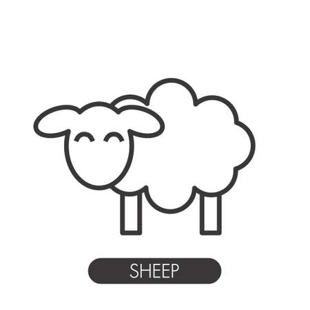 Line icon sheep side on white background Illustration