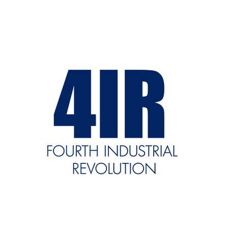 4IR written . Fourth industrial revolution business banner concept Иллюстрация