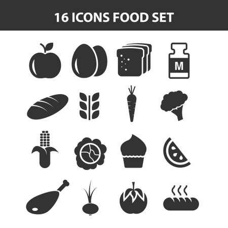 Trendy nutrition icons white background. Included filled icons for web and mobile. Ilustração