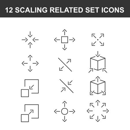 Simple Set of Scaling Related Vector Line Icons