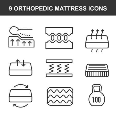 Orthopedic mattress flat line icons. Mattresses properties Stock fotó - 132403449
