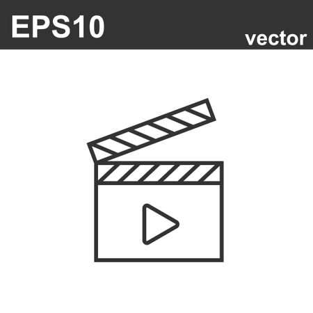 Movie icon. Black filled vector illustration. Movie symbol on white background. Can be used in web and mobile.