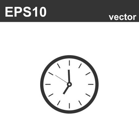 Clock sign icon in flat style on white. Vector illustration