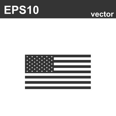 American flag icon on white background. Vector illustration