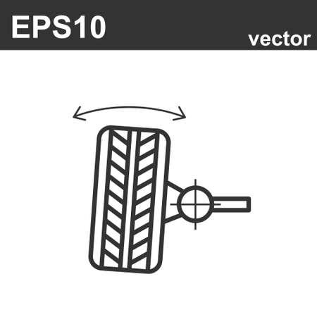 Wheel alignment line icon on white background. Vector illustration