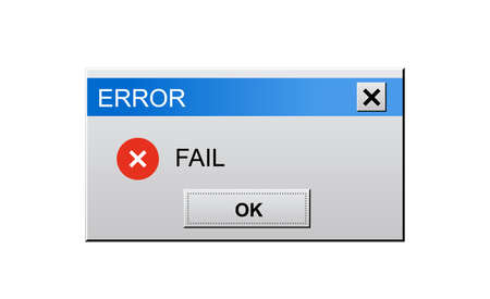 Classic window alert dialog box of system error on white
