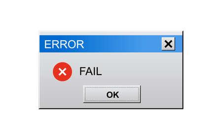 Classic window alert dialog box of system error on white Vektoros illusztráció