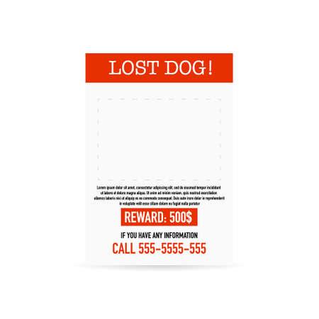 Lost pet poster template. Missing banner design Ilustrace