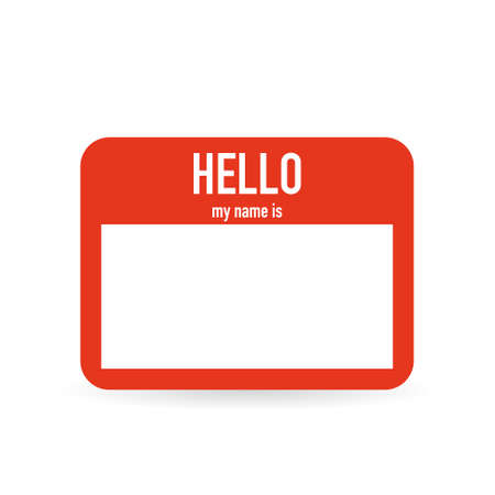 Hello my name is. Red tag on white background