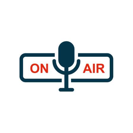 On air sign icon. Live stream symbol. Microphone symbol