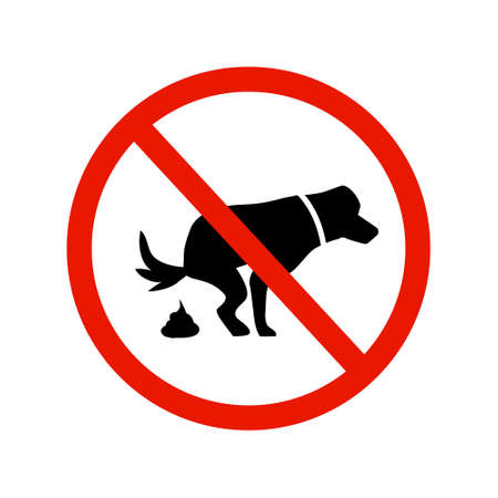 Dog and excrement, no dog pooping sign. Information red circular sign for dog owners. Shitting is not allowed. Vector illustration Illustration