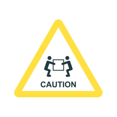warning sign, handling heavy loads, vector icon on white