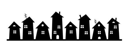 black silhouette of city on white, group of houses, vector icon, element for design Ilustrace