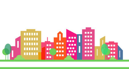 silhouette of city on white, group of houses, vector icon, element for design Ilustrace